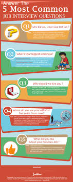 answer the 5 most common job interview questions visual ly answer the 5 most common job interview questions infographic