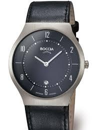 boccia mens thin quartz watch titanium case and sleek black boccia mens titanium quartz watch 3559 02