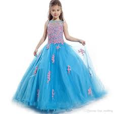 Hot Sales Blue Tulle Graduation Gown <b>Children Sleeveless Floor</b> ...