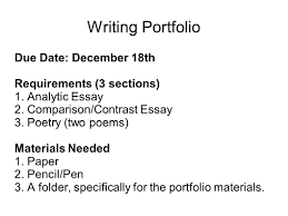 writing portfolio mr butner writing portfolio due date 2 writing