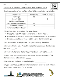 integer word problems tallest lighthouses metric teaching stuff here you will our selection of math word problems for kids which will help your child to practice and apply their math skills to solve a range of