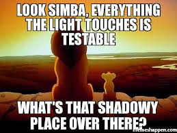 Look Simba, everything the light touches is testable What's that ... via Relatably.com