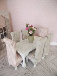 112 miniature doll house white wooden rectangular dining room table and six high back dining chairs floral shabby chic aliexpresscom buy 112 diy miniature doll house