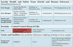 important health and safety information undergraduate handbook contact information faculty health and safety team social and human sciences