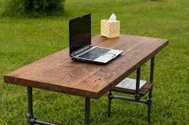 preview reclaimed wood desk table rustic solid oak w 28 black iron pipe black iron pipe table