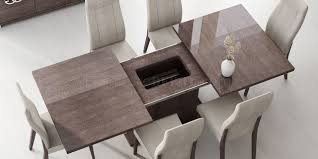 wood extendable dining table walnut modern tables: prestige dining table in high gloss walnut by esf w options