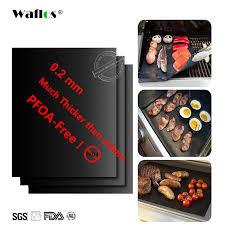 WALFOS Extra thick 0.2mm <b>heat resistant teflon</b> baking <b>mat BBQ</b> ...
