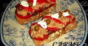 Resultado de imagen de Tostadita con anchoa y pimiento asado