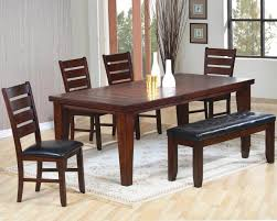 extension table f: rustic unfinished solid wood bench with mahogany dining table plus f large round x