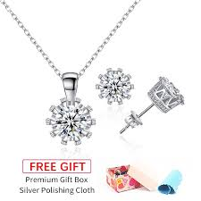 <b>Elegant</b> 925 Silver Zircon Diamond Necklace and <b>Earrings Set</b> ...