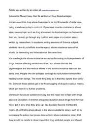 substance abuse essay topics   essay topic suggestionssubstance abuse essay can be written on disadvantages