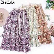 Layers Floral Print Ruffles Boho Skirt SF   <b>Womens</b> maxi skirts, Ankle ...