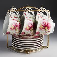 """Ф5-021К/12 <b>Набор чайный</b> 12 пр. на мет <b>подставке</b> """"Розовые ..."""