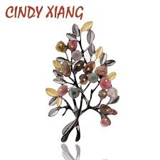 2019 <b>CINDY XIANG Vintage Stone</b> Tree Brooches For Women ...