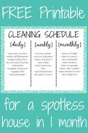best ideas about cleaning schedule printable cleaning schedule printable a daily weekly and monthly list of chores to tackle the clutter monster and get a spotless house in 30 days add this to