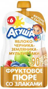 <b>Пюре фруктовое Агуша</b> Яблоко-черника-земляника-мультизлаки ...