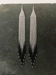 Long Ombré <b>beaded</b> earrings, <b>Silver</b>, Black, Native American, <b>Seed</b> ...