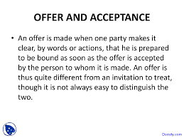 offer and acceptance law of contract lecture slides this is only a preview