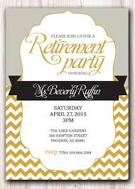 retirement party invitation template swirl and gray font retirement party invitation chevron background and gold and silver color combination designed or by scripturewallart