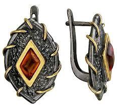 Эстет <b>Серьги с янтарем из</b> чернёного серебра с позолотой ...