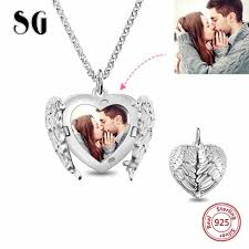 <b>SG personalized 925 sterling</b> silver angel wing heart pendant ...