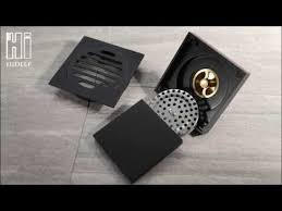 HIDEEP Bathroom <b>black</b> pure <b>brass floor drain</b> - YouTube