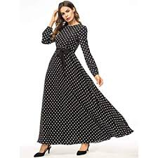 FidgetGear <b>Women Fashion Wave</b> Point Printing Large Hem Dress ...