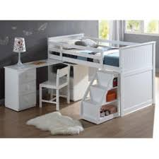 acme childrens white wood pull out desk stairway staircase chest low twin loft bed bunk bed office