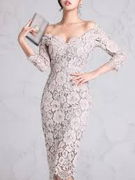 Elegant One Shoulder Lace 3/4 <b>Sleeve Sexy Bodycon Dress</b> ...