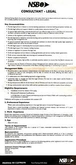 consultant legal national savings bank job description