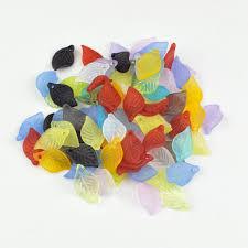 <b>Wholesale 100pcs</b> Randomly <b>Mixed Color</b> Acrylic Leaf Beads ...