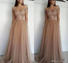 <b>2019 Elegant Champagne Tulle</b> Off The Shoulder Prom Dresses ...