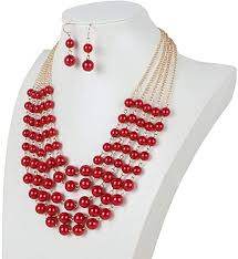 <b>DiLiCa Women Elegant</b> Faux Pearl Bib Necklace Jewelry Set Girl ...