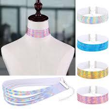 <b>Harajuku Multi</b>-<b>layer</b> Holographic <b>Choker Necklace</b> Laser <b>Collar</b> ...
