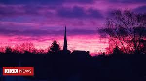 <b>Purple</b> skies seen across England with sunrises - BBC News
