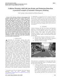 (PDF) Collision Warning with <b>Full</b> Auto <b>Brake</b> and Pedestrian ...
