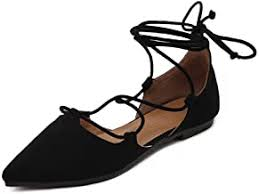 Pointed Toe Lace up Flats - Amazon.com