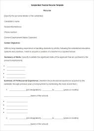 this is a sample teacher resume template available in ms word format and has free download option it features candidates career objective free resume samples for freshers