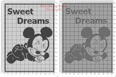 Free <b>Disney</b> filet crochet pattern <b>baby</b> blanket with <b>baby Mickey</b> ...