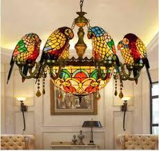 Stained Glass Pendant Lamp <b>Luxury Crystal Art</b> Glass Birds ...