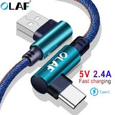 <b>OLAF 5V 2.4A USB</b> Type C Micro IOS 90 Degree Fast Charging Usb ...