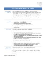 restaurant manager resume samples template and tips online restaurant manager resume