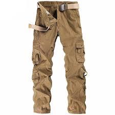 <b>Mens Cargo Pants</b> Multi-pocket <b>Solid</b> Color Regular Fit Outdoor ...