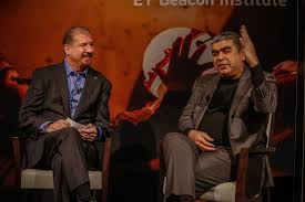 beacon institute global dr vishal sikka ceo infosys and mark weinberger global chairman and ceo during their panel discussion about the purpose led transformation of
