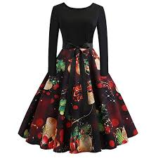 TOTOD Christmas Vintage Dress, <b>Women Elegant</b> Long Sleeve ...