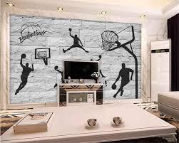 <b>beibehang</b> 3D brick wall hand painted basketball element wallpaper ...