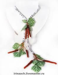 Лариат <b>Березка</b>   Вышивка крючком бисером, Плетение из ...