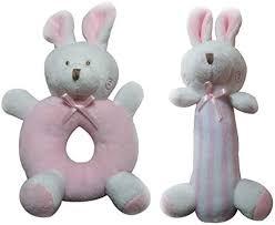 NUOLUX 2pcs <b>Baby Rattle</b> Plush Soft <b>Toys</b> Rabbits Bunny <b>Crib Toys</b> ...