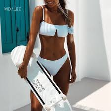 2019 <b>NIDALEE Sexy</b> Swimwear <b>Women</b> Solid Bandeau Low W ...