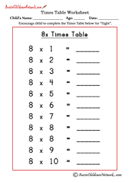 Multiplication Times Tables Worksheets - Aussie Childcare NetworkWorksheet #8 8 times table test